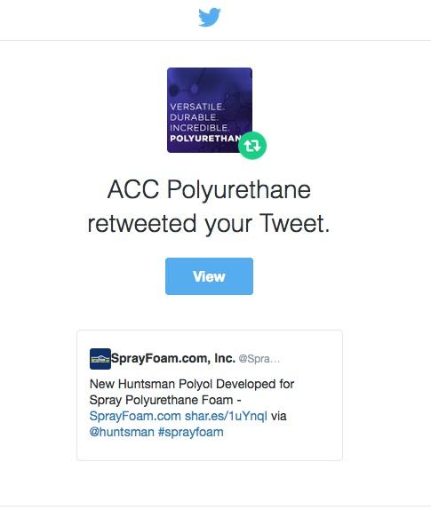 ACC Polyurethanes Retweets SprayFoam.com