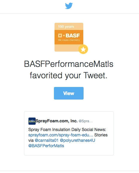 BASF liked a SprayFoam.com retweet