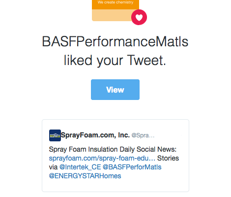 BASF likes a SprayFoam.com tweet