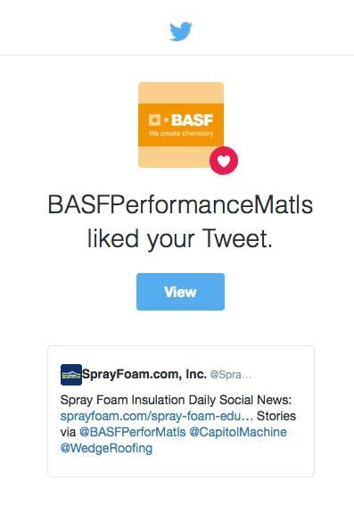 BASF liked SprayFoam.com's tweet.