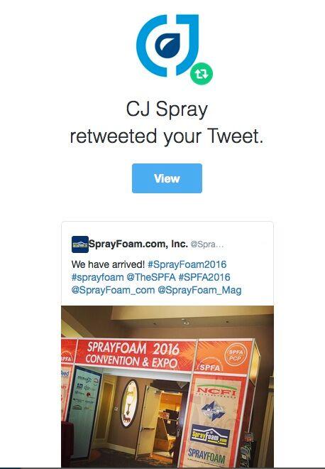 CJ Spray retweed SprayFoam.com