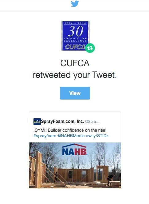 CUFCA retweed SprayFoam.com