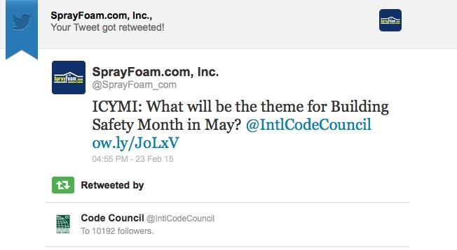 International Code Council retweed SprayFoam.com
