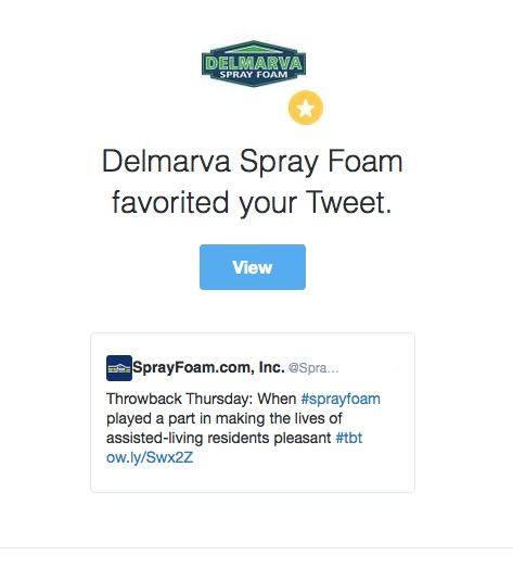 Delmarva Insulation favorited a tweet from SprayFoam.com