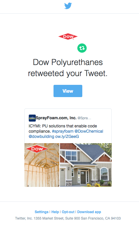 Dow Polyurethanes retweeted SprayFoam.com