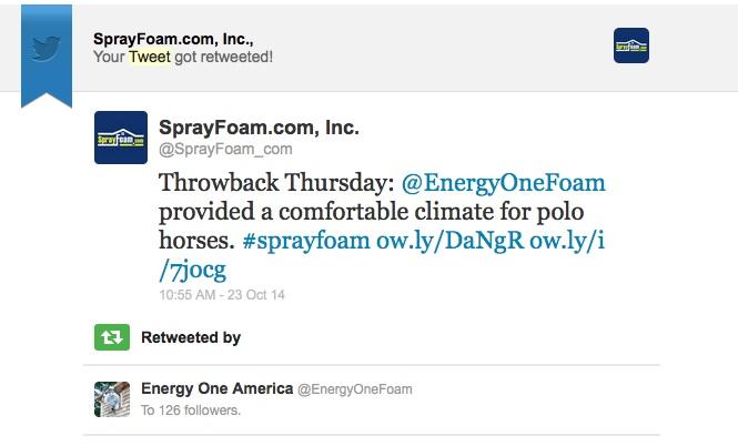 Energy One America retweeted SprayFoam.com