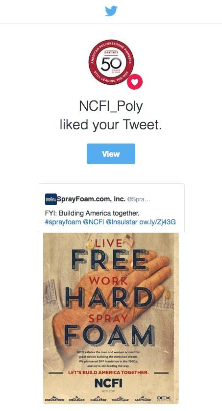 NCFI liked a SprayFoam.com tweet