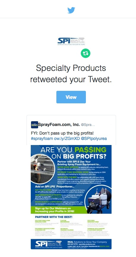 Specialty Products, Inc retweeted SprayFoam.com