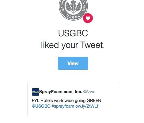 USGBC liked a SprayFoam.com tweet