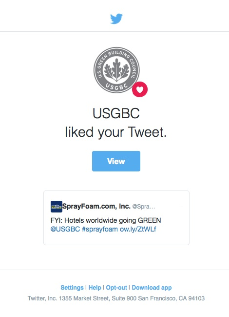 USGBC liked a SprayFoam.com tweet