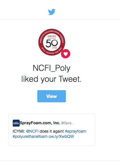 NCFI likes a SprayFoam.com tweet