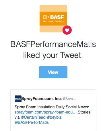 BASF liked a SprayFoam.com tweet