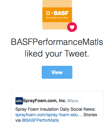 BASF liked SprayFoam.com's tweet.