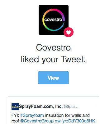 Covestro liked a SprayFoam.com tweet.