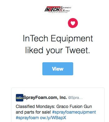 InTech Equipment liked a SprayFoam.com tweet.