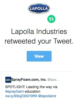 Lapolla retweeted SprayFoam.com