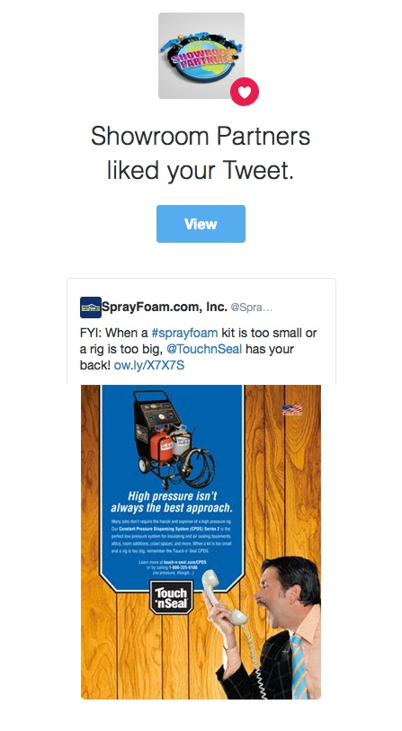 Showroom Partners liked a SprayFoam.com tweet.