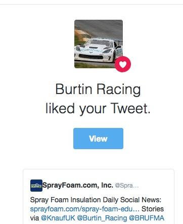 Burtin Racing liked a SprayFoam.com tweet