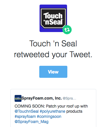 Touch 'n Seal retweeted SprayFoam.com