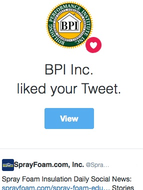 BPI, Inc. liked a SprayFoam.com tweet.