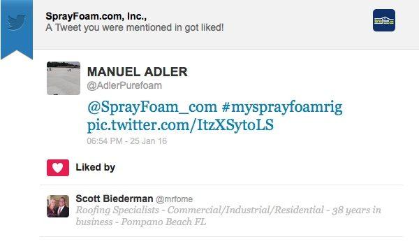 Scott Bierderman liked a SprayFoam.com tweet.