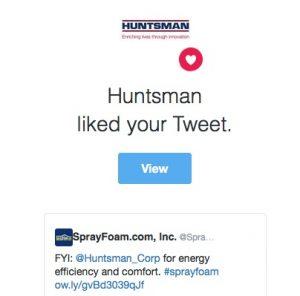 Huntsman liked a SprayFoam.com tweet.
