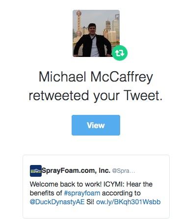 Michael McCaffrey retweeted SprayFoam.com