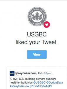 United States Green Building Council liked a SprayFoam.com tweet.