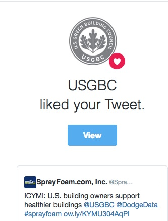 United States Green Building Council liked a SprayFoam.com tweet.