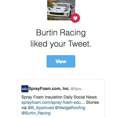 Burtin Racing liked a SprayFoam.com tweet.