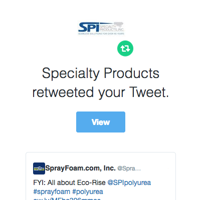 Specialty Products, Inc. retweeted SprayFoam.com