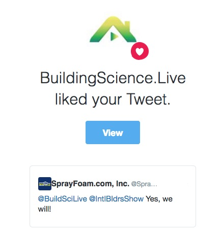 Tweet response of SprayFoam.com to BuildingScience.Live